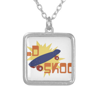 Old Skool Skateboard Silver Plated Necklace