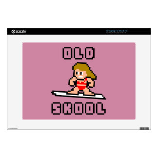 Old Skool Surfing (pale female, Blk) Decal For Laptop