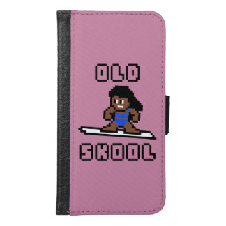 Old Skool Surfing (tanned female, Blk) Wallet Phone Case For Samsung Galaxy S6