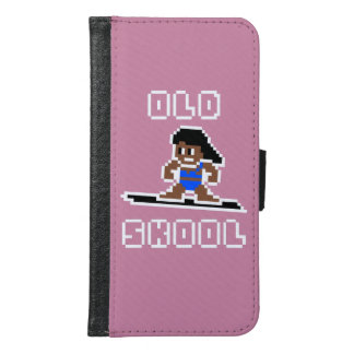 Old Skool Surfing (tanned female, WHT) Samsung Galaxy S6 Wallet Case