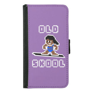 Old Skool Surfing (tanned female, WHT) Wallet Phone Case For Samsung Galaxy S5