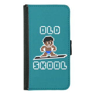 Old Skool Surfing (tanned male, WHT) Samsung Galaxy S5 Wallet Case