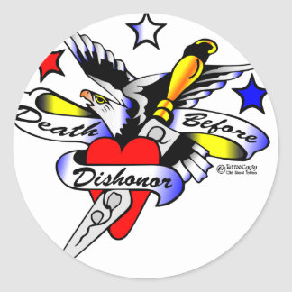 Old Skool Tattoo Eagle Dagger & Heart Round Stickers