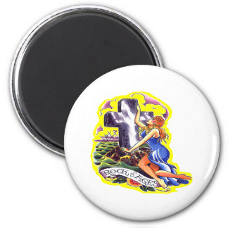 Old Skool Tattoo Rock Of Ages 2 Inch Round Magnet