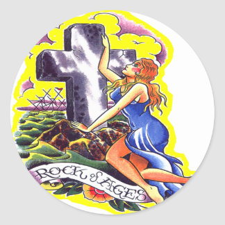 Old Skool Tattoo Rock Of Ages Round Stickers
