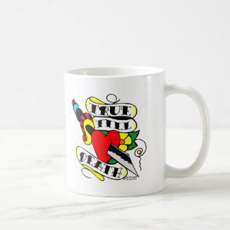 Old Skool Tattoo True Till Death Dagger Heart Coffee Mug