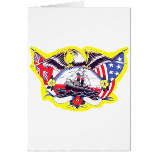 Old Skool Tattoo WW2 Navy Eagle & Ship Cards