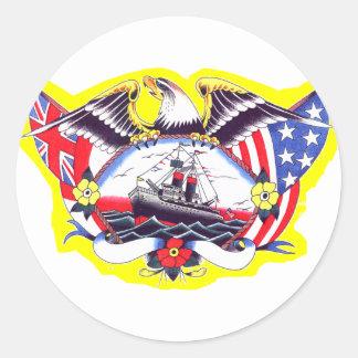 Old Skool Tattoo WW2 Navy Eagle & Ship Classic Round Sticker