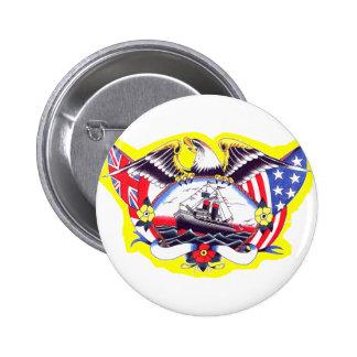 Old Skool Tattoo WW2 Navy Eagle & Ship Pinback Button