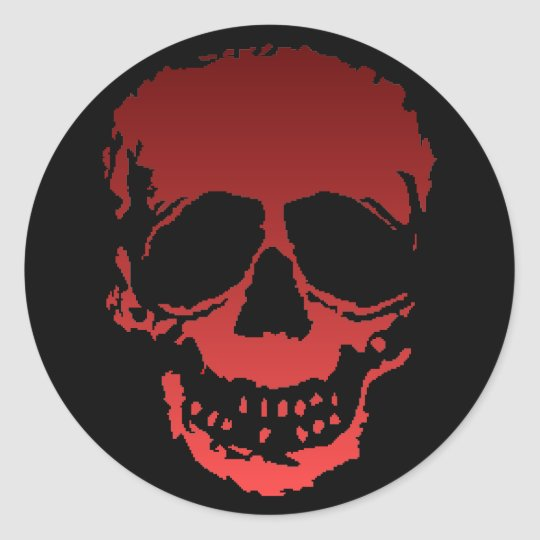 Old Skull red Classic Round Sticker