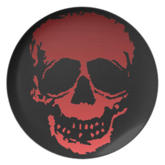 Old Skull red Melamine Plate