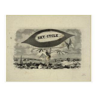 old sky cycle printing bicycle and balloon postcard