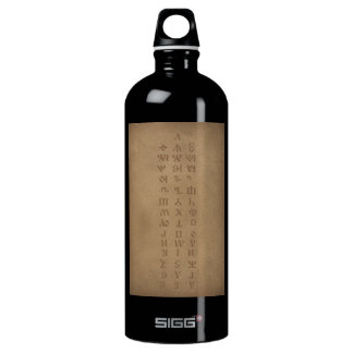 old slavonic church alphabet water bottle