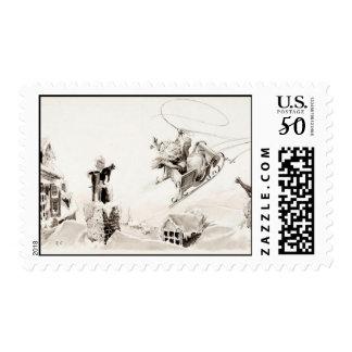 old sleigh santa stamp