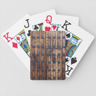 Old Small Door Within Large Reinforced Wooden Door Bicycle Playing Cards