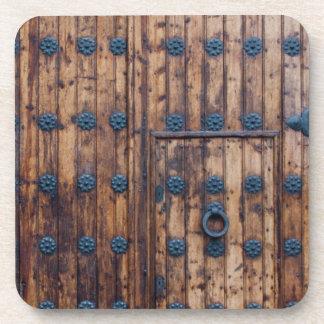 Old Small Door Within Large Reinforced Wooden Door Drink Coaster
