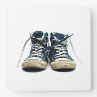 old sneakers dirty sport shoes white background square wallclock
