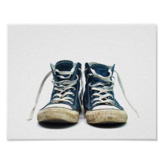 old sneakers dirty sport shoes white background poster