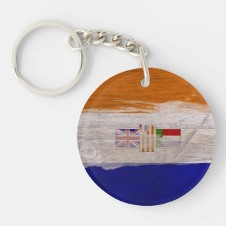 Old South African Flag Key Ring Single-Sided Round Acrylic Keychain
