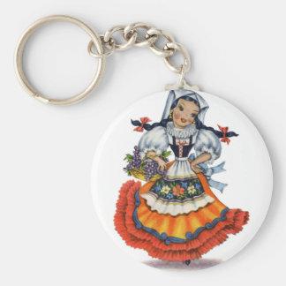 Old spanish doll keychain