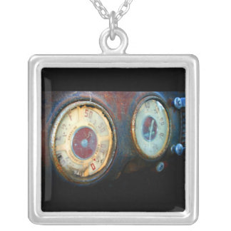 Old Speed Square Pendant Necklace
