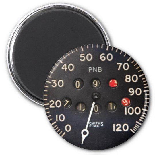 Old speedometer gauge from a vintage race car 2 inch round magnet