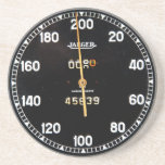 "Old speedometer gauge from a vintage race car coaster<br><div class=""desc"">This classic car gift is inspired by the speedometer of an old racing car. A classic sports car like this would have had hand-made dials and gauges which is nothing short of automotive art. This specific speedometer dial is from the dashboard of a rare classic car. It has some rust...</div>"