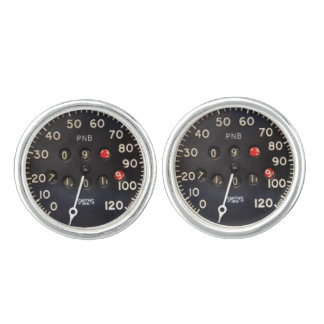 Old speedometer gauge from a vintage race car cufflinks