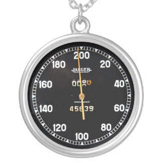 Old speedometer gauge from a vintage race car round pendant necklace
