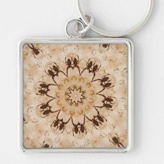 Old Spider Background Silver-Colored Square Keychain