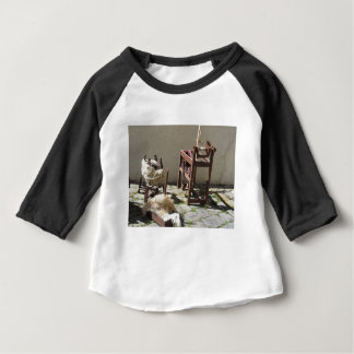 Old spinning wheel, raw wool yarn and wool to card baby T-Shirt