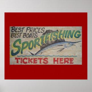 Old sportfishing sign print