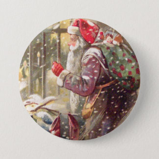 Old St. Nicholas with Gifts in Snow Vintage Button