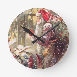 Old St. Nicholas with Gifts in Snow Vintage Clock