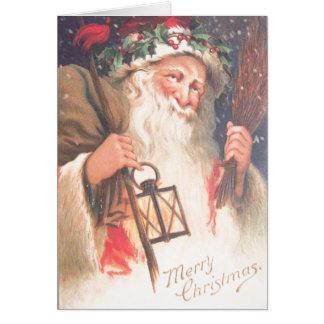 Old St. Nicholas with Lantern Vintage Card