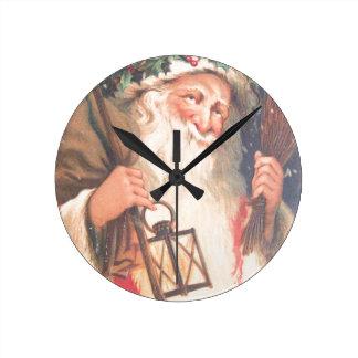 Old St. Nicholas with Lantern Vintage Clock