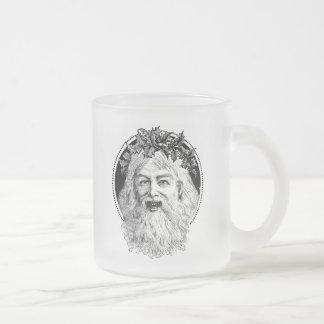 Old St. Nick Retro Christmas Frosted Glass Coffee Mug