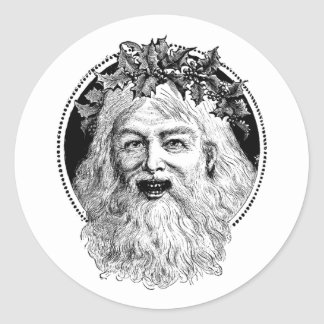 Old St. Nick Retro Christmas Round Stickers