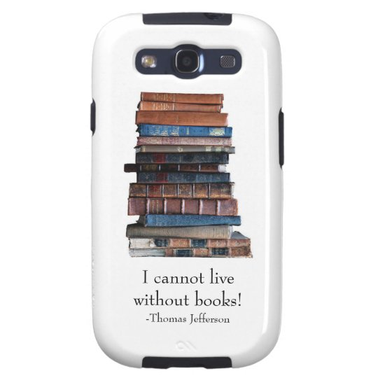 Old stack of books-with Jefferson Quote Galaxy S3 Case