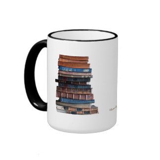 Old stack of books-with quote ringer coffee mug