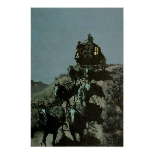 Old Stage Coach of the Plains by Remington Poster