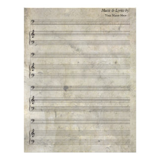 Old Stained Blank Sheet Music Bass Clef Personalized Letterhead