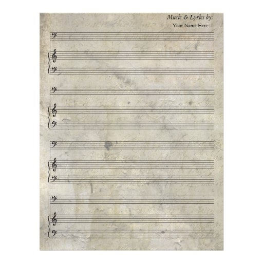 Old Stained Blank Sheet Music Bass Clef Letterhead