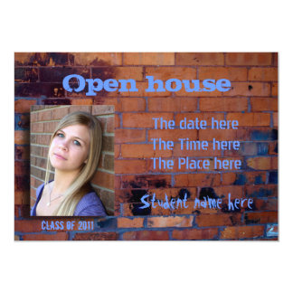 Old stained brick wall open house invitation