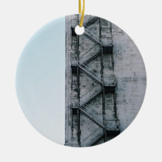 old stairs building up to the sky Double-Sided ceramic round christmas ornament