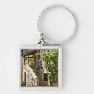 Old Stairs Silver-Colored Square Keychain