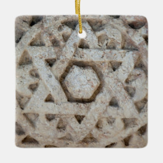 Old Star of David carving, Israel Ceramic Ornament