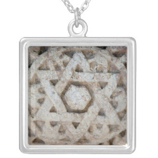 Old Star of David carving, Israel Silver Plated Necklace