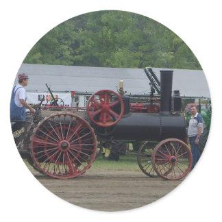 Old Steam Engine Tractor Classic Round Sticker