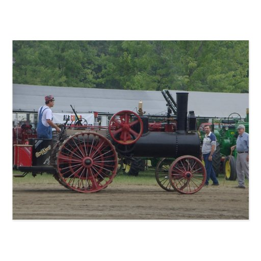 Old Steam Engine Tractor Post Card